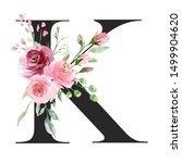 floral alphabet  letter k with... | Shutterstock . vector #1499904620