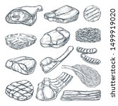 fresh raw meat collection ... | Shutterstock .eps vector #1499919020