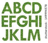 set of green grass alphabet a m | Shutterstock . vector #149994578