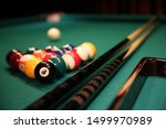 Sports game of billiards on a...