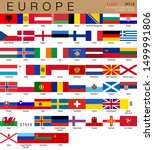 Set of official national flags of Europe and other territories. Alphabetical order. Vector design illustration