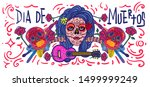 cheerful day of the dead poster ... | Shutterstock .eps vector #1499999249