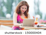 attractive young red haired... | Shutterstock . vector #150000404