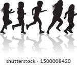 children silhouettes running.... | Shutterstock .eps vector #1500008420