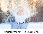 Girl In The Park In Winter