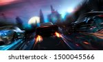 Futuristic cars racing in the city - street racer concept (with grunge overlay) brand-less - 3d illustration - stock photo