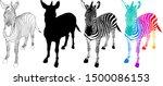Zebra Symbol Icon Of 3 Style....