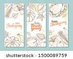 thanksgiving vintage food hand... | Shutterstock .eps vector #1500089759