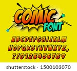 comic retro font set. alphabet... | Shutterstock .eps vector #1500103070