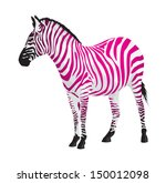 zebra with strips of pink color.... | Shutterstock .eps vector #150012098