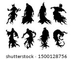 silhouette of flying evil... | Shutterstock .eps vector #1500128756