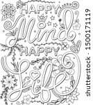happy mind happy life font with ... | Shutterstock .eps vector #1500171119