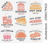 set of fast food retro badge... | Shutterstock .eps vector #1500179423