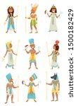 set of egyptian pharaohs.... | Shutterstock .eps vector #1500182429