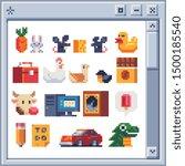 Stock vector different pixel art illustration for video games design for logo poster sticker and app 1500185540