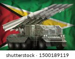 tactical short range ballistic missile with arctic camouflage on the Guyana flag background. 3d Illustration