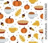seamless pattern pumpkin and... | Shutterstock .eps vector #1500211460
