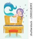 cute mermaid playing piano... | Shutterstock .eps vector #1500218393