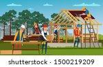 roofing construction flat... | Shutterstock .eps vector #1500219209