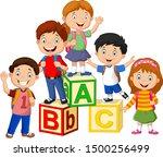 Happy School Children With...
