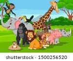 cartoon wild animals in the... | Shutterstock .eps vector #1500256520