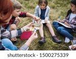 group of school children with... | Shutterstock . vector #1500275339