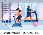 girls training in gym flat... | Shutterstock .eps vector #1500288143