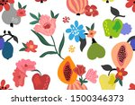 fruits and flowers. abstract...   Shutterstock .eps vector #1500346373