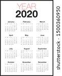 year 2020 calendar vector... | Shutterstock .eps vector #1500360950