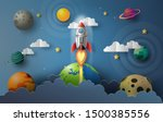paper art style of rocket... | Shutterstock .eps vector #1500385556