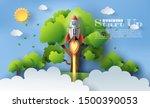 paper art style of rocket...   Shutterstock .eps vector #1500390053