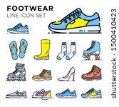 footwear line icon set. shoe... | Shutterstock .eps vector #1500410423