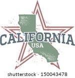Vintage California State Star Stamp - stock vector