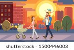 family walking with baby car at ... | Shutterstock . vector #1500446003