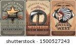 wild west crossed guns ... | Shutterstock .eps vector #1500527243