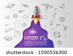 paper art style of rocket... | Shutterstock .eps vector #1500536300