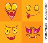 vector funny monster face set... | Shutterstock .eps vector #1500537980