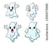 set of cute cartoon halloween... | Shutterstock .eps vector #1500575000