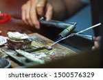 Small photo of Silverware making. Craftsman are making silverware.The original of the silver craftsmen at Chiang Mai, Thailand.
