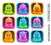cute cartoon colorful slimy...