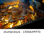 pieces of lamb being grilled in ... | Shutterstock . vector #1500649970