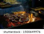 pieces of lamb being grilled in ... | Shutterstock . vector #1500649976