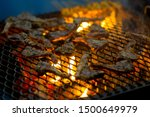 pieces of lamb being grilled in ... | Shutterstock . vector #1500649979