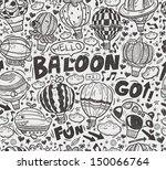 seamless doodle hot air balloon ... | Shutterstock .eps vector #150066764