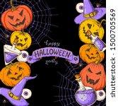 halloween design template. hand ... | Shutterstock .eps vector #1500705569
