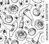halloween seamless pattern .... | Shutterstock .eps vector #1500707549