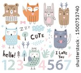 set with cute  animals  numbers ...   Shutterstock .eps vector #1500753740