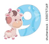 cute nine number with baby... | Shutterstock .eps vector #1500757169