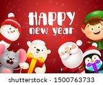 happy new year lettering  rat ... | Shutterstock .eps vector #1500763733