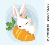 Stock vector cute rabbit sleeping on the carrot 1500773393